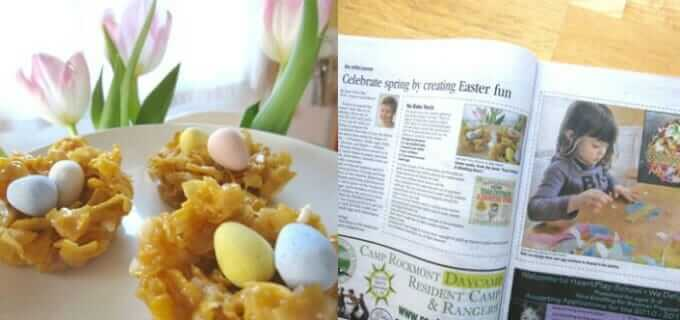 Easter Egg Suncatchers and Nest Cookies - in local parenting magazine