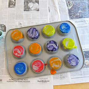 Muffin Tin Printing with Kids