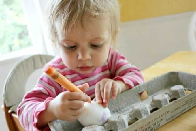 Melted Crayon Eggs for Easter - Toddler Version