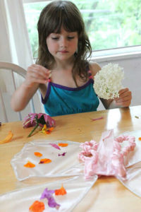 Childrens fairy wings - flower petals on contact paper