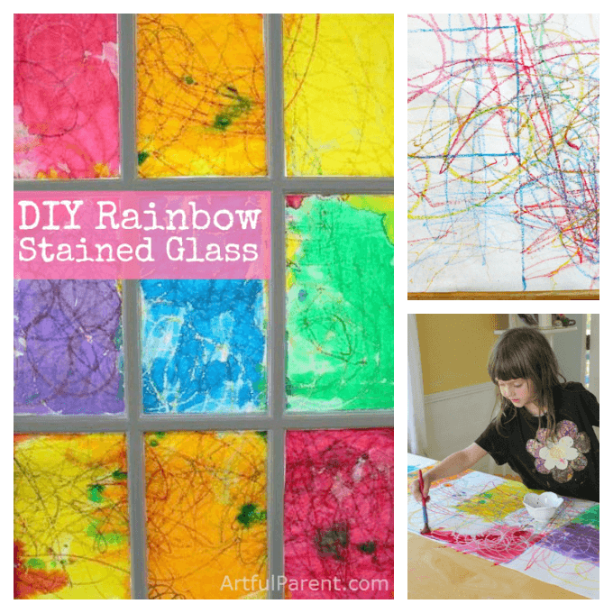 DIY faux rainbow stained glass window that is easy to make and will surely brighten up your room! Use a crayon and watercolor resist art technique to make your own stained glass.