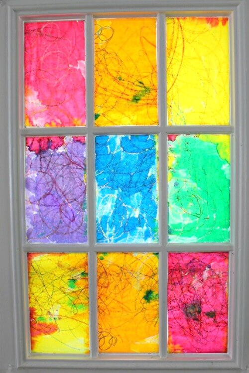 Rainbow Watercolor Resist Stained Glass Window
