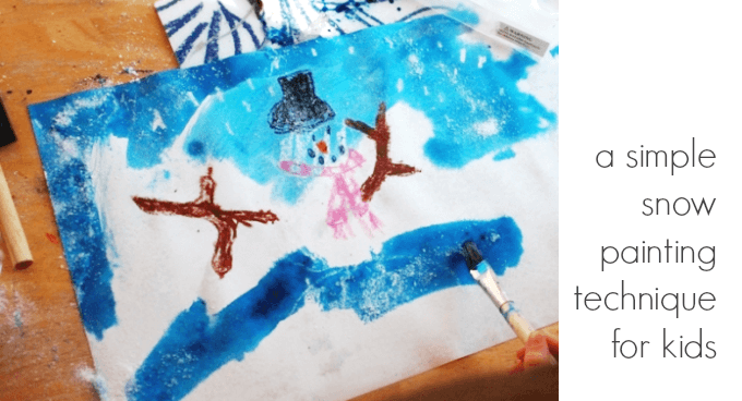 A Simple Snow Painting Technique for Kids