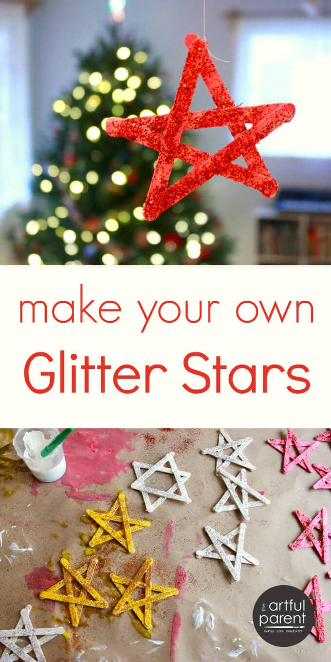 Make your own glitter stars with popsicle sticks and this simple tutorial. Easy and beautiful! We used our glitter stars for Christmas decorations.