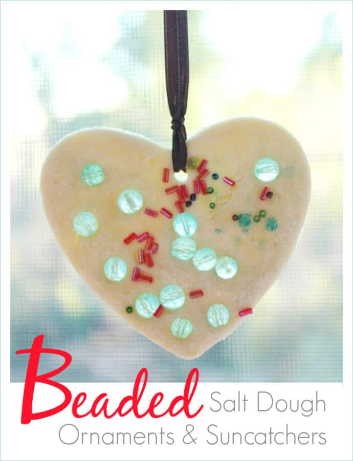 Beaded Salt Dough Christmas Ornaments and Suncatchers -- Easy to make and SO beautiful!
