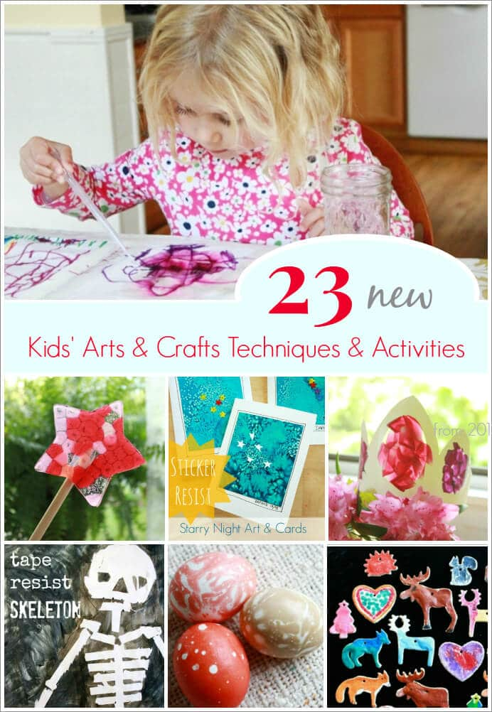 23 New Kids' Arts and Crafts Techniques Tried in 2013 (on The Artful Parent) -- Sticker resist, melted bead suncatchers, sharpie tie-dye, and more!
