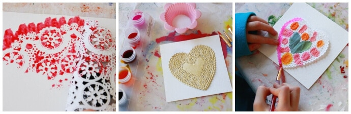 Watercolor Heart Doilies for Valentine's Day Bunting