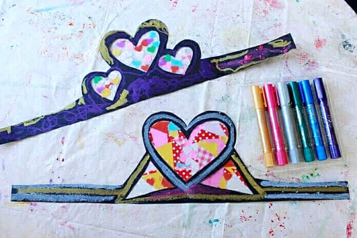 Stained glass heart crowns with metallic paint sticks