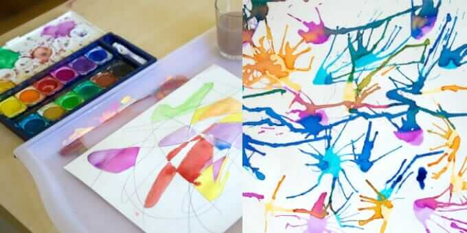 Watercolor Projects Kids Love - Blow Painting and Scribble Drawings
