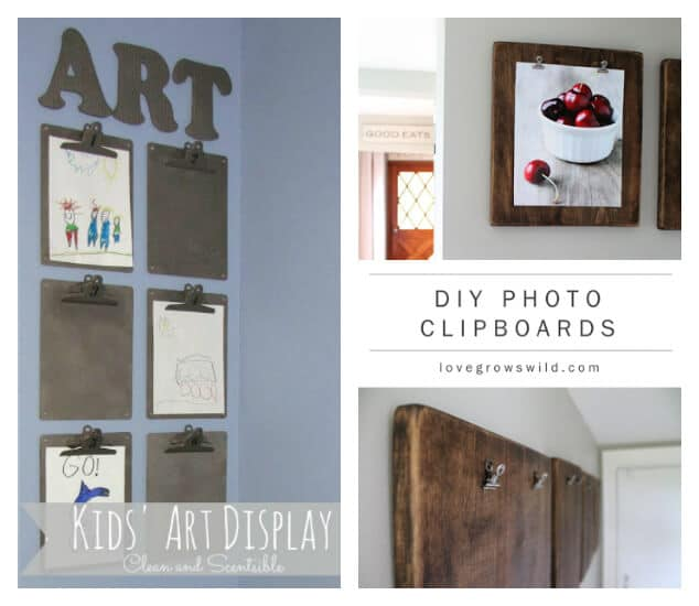 21 Ways to Display Kids Artwork - Clipboards for kids art