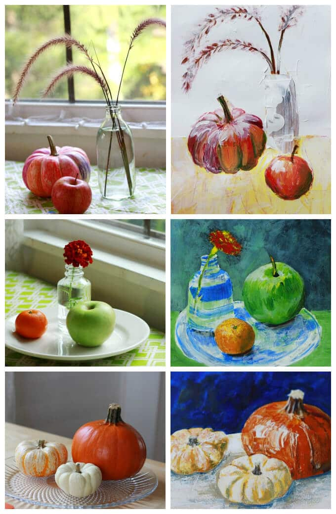 Still Life Paintings from Online Acrylic Painting Class