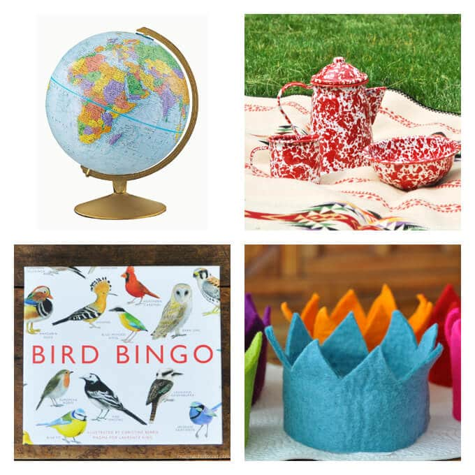 Quality Toys from Imagine Childhood - Globe, caming ware, felt crown, and bird bingo