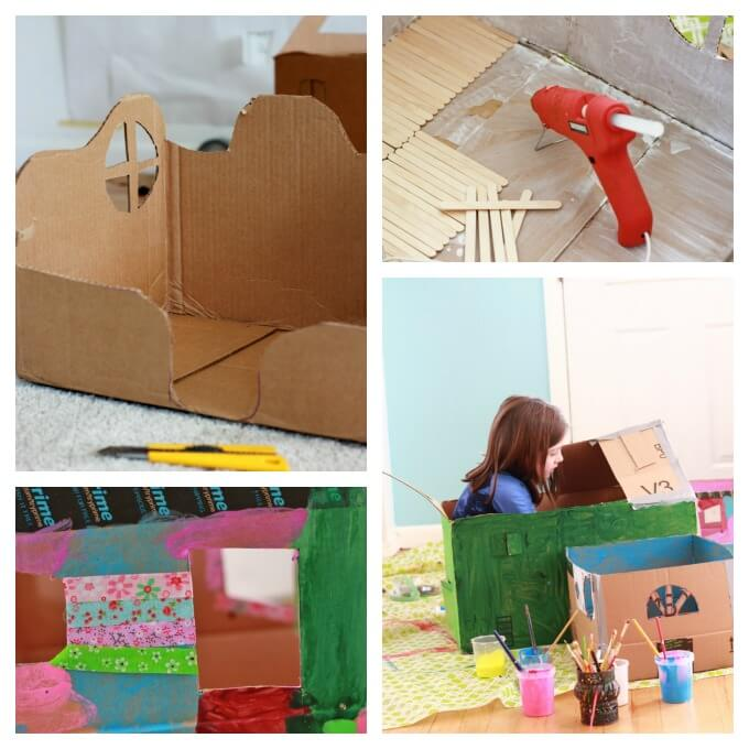 Making Fairy Houses from Cardboard Boxes