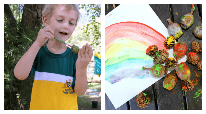 Painting Nature Items with Kids