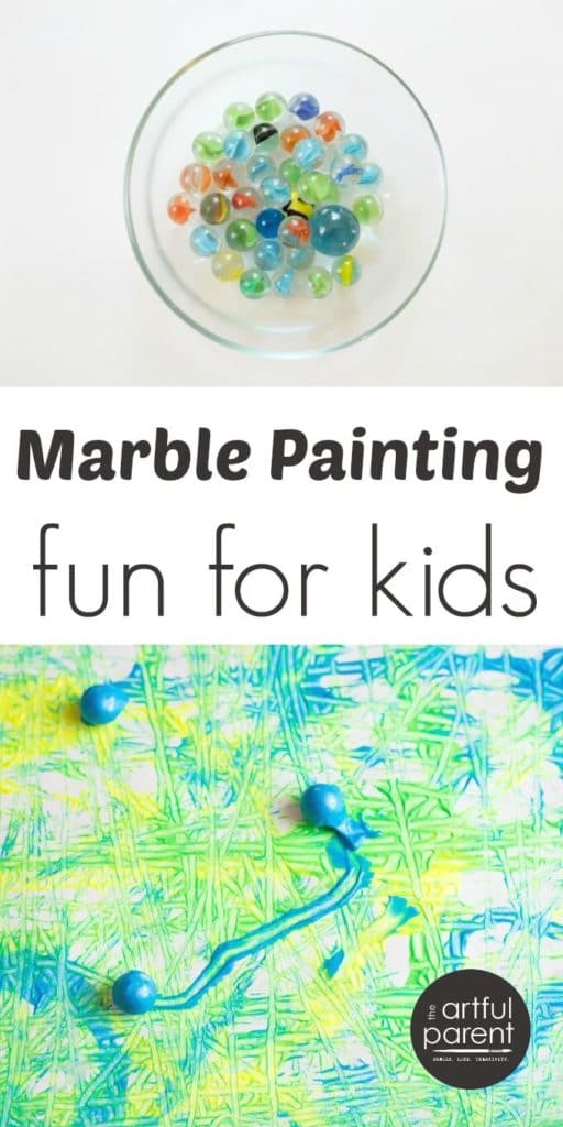 Marble painting for kids is an easy and fun action art activity that results in a wonderfully abstract work of art. Fun variations included in this article! #kidsart #artsandcrafts #kidspainting #kidsactivities #paintingforkids #paintingideas #paintingtechniques #artforkids