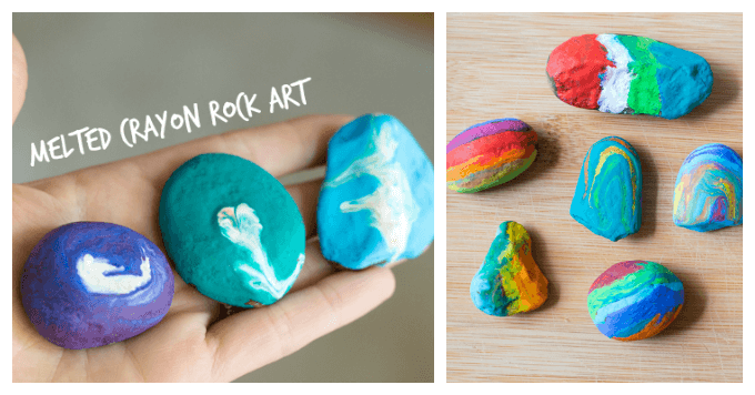 Melted Crayon Rock Art for Kids