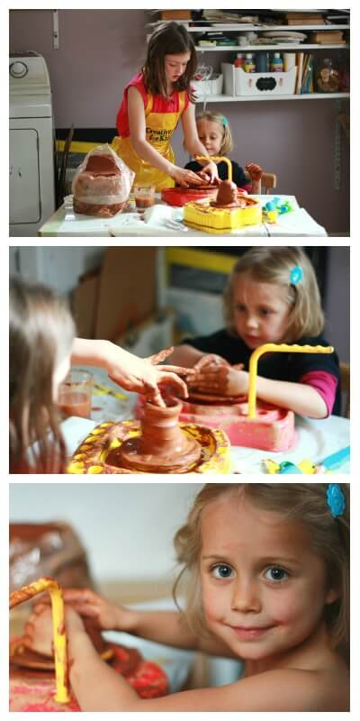 Sisters working on pottery together (and a post about why art is important to families)
