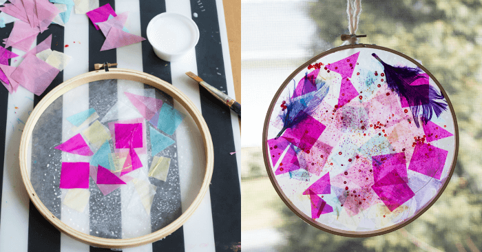 How to Make a Tissue Paper Suncatcher in an Embroidery Hoop Frame