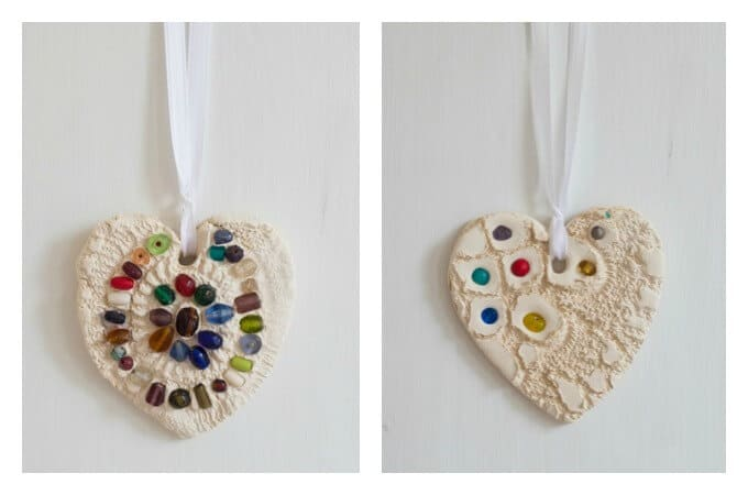 Lace Hearts Hanging as Ornaments