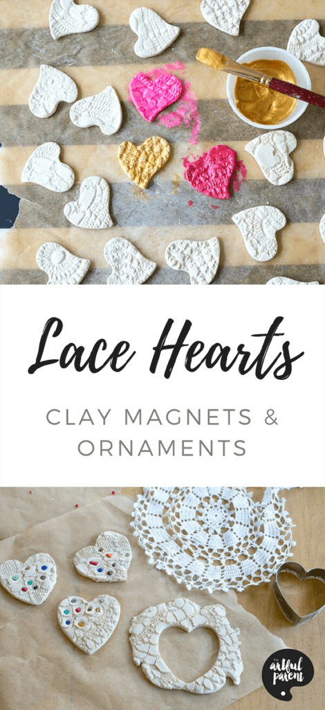 Lace Hearts – Clay Ornaments and Magnets
