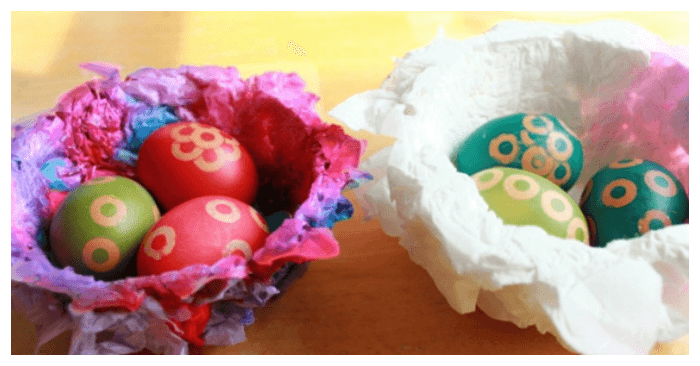 Tissue Paper Nests Easter Craft