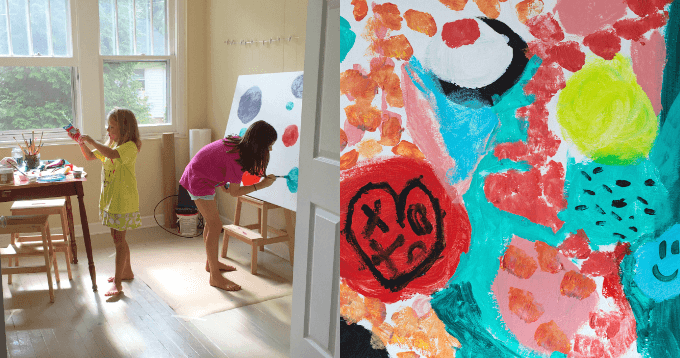 How to Do Large Scale Canvas Art with Kids Plus Tips and Tricks
