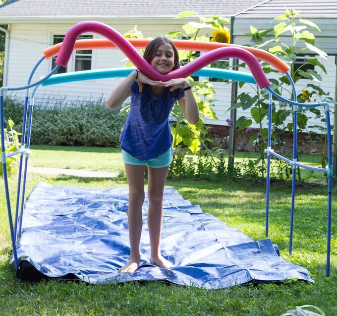 Slip n slide canopy entrance made with Fort Magic