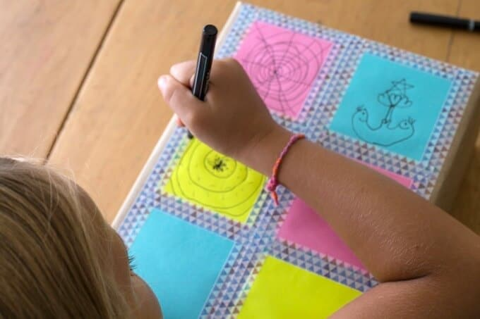 Make Your Own Gift Wrap with Office Supplies - Post It Frames