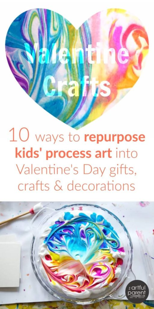 10 Valentine craft ideas & gifts to make from kids process art (such as this marbled paper), including cards, notebooks, garlands, & more. #valentinecrafts #valentinesday #kidscrafts #kidsactivities