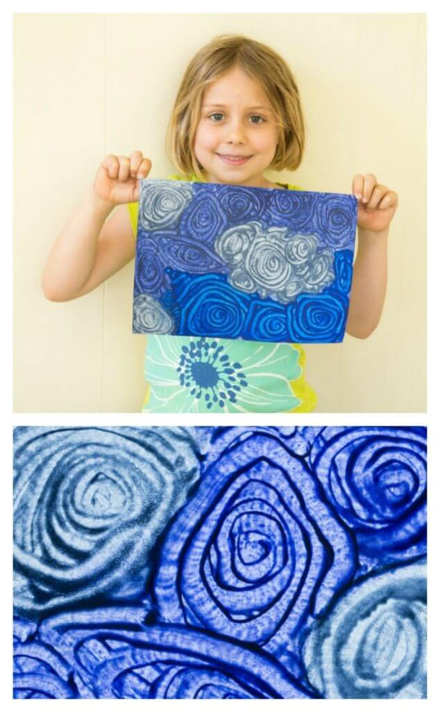 Melted Crayon Art - Daphnes Sky with Clouds