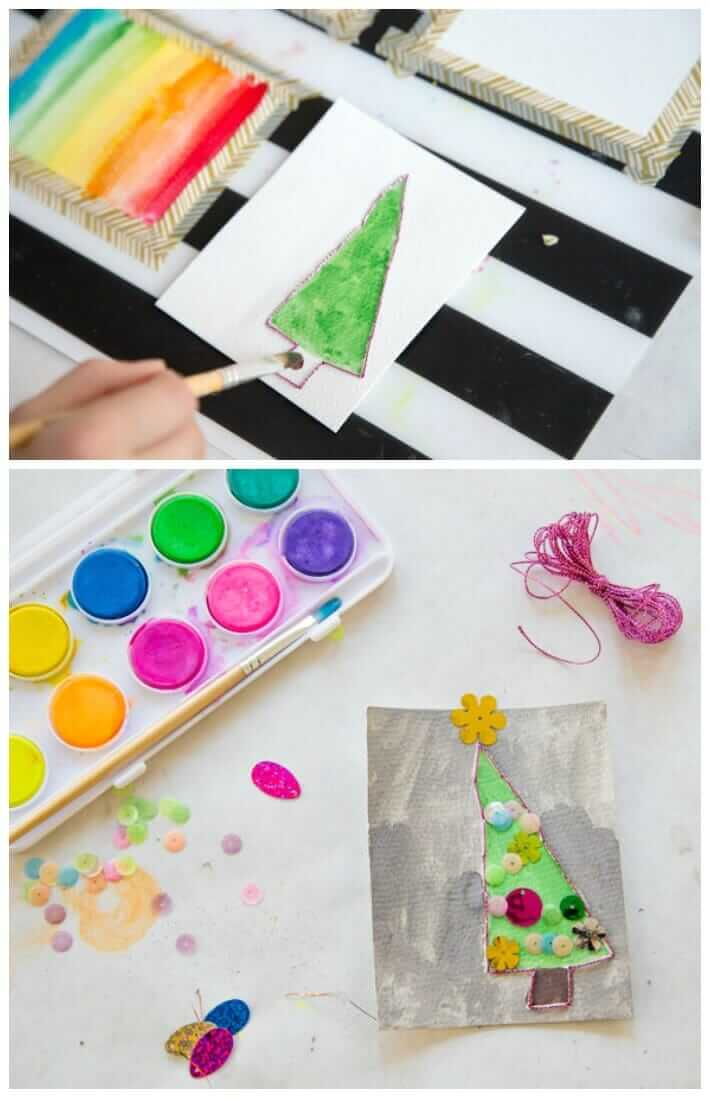 Homemade Christmas Card Making with Kids - Christmas Trees with Watercolors, Embroidery, and Sequins