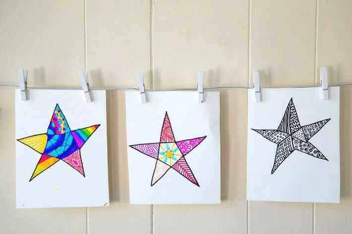 Tangle stars - a simple drawing activity for kids