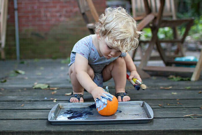 Pumpkin painting with toddlers