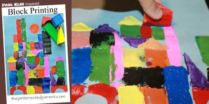 Simple Stamping Ideas for Kids - Block Printing