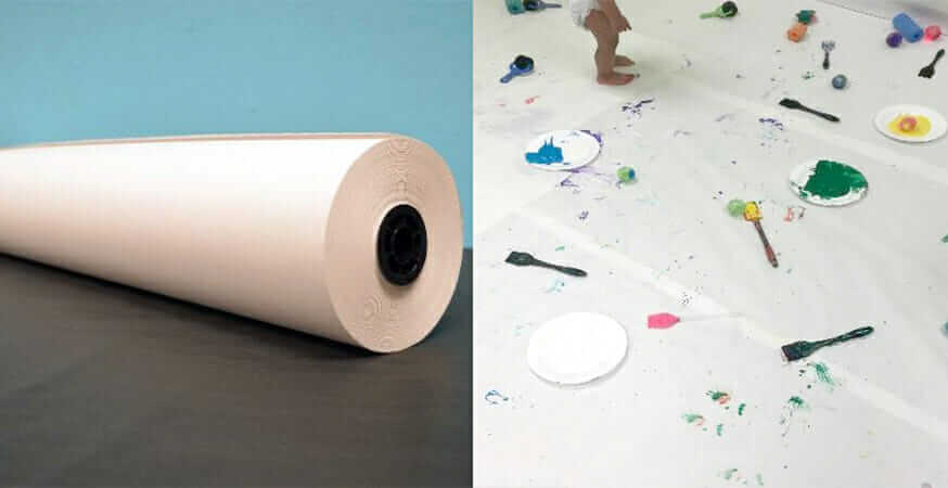 Butcher paper and materials for making art with babies