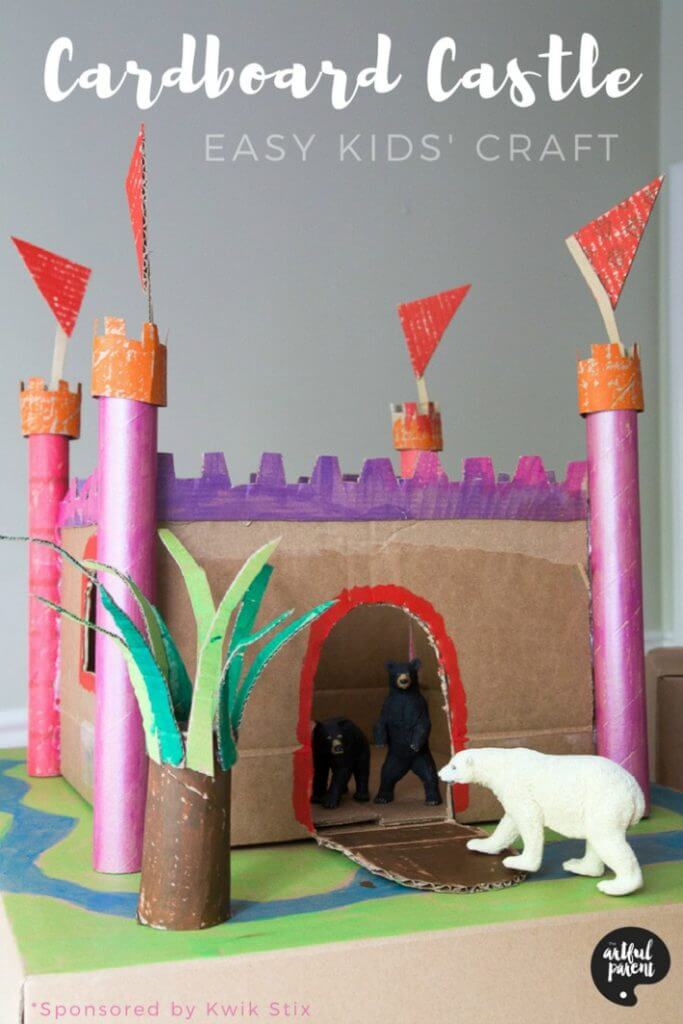 How to Make a Cardboard Castle - A Simple Kids Craft to Make from a Cardboard Box