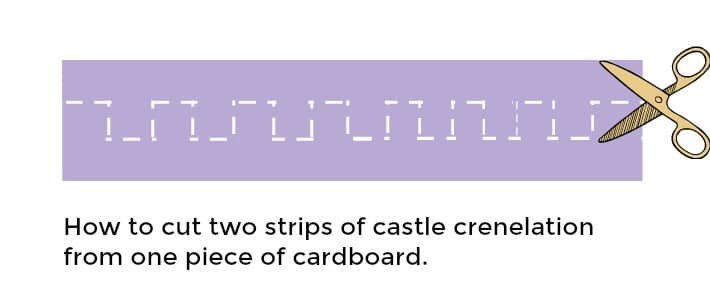 How to cut two strips of castle crenelation from one piece of cardboard