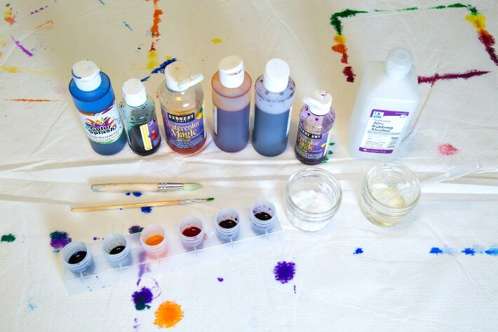 Art Supplies for Watercolor Butterflies with Rubbing Alcohol