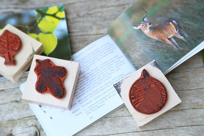 Nature stamps for fabric bunting