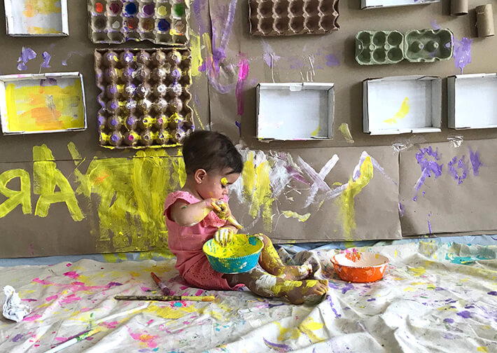 Toddler Art Activities - Cardboard Art Wall