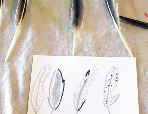 Hand drawn feathers & bird feathers for easy drawing ideas for kids from nature
