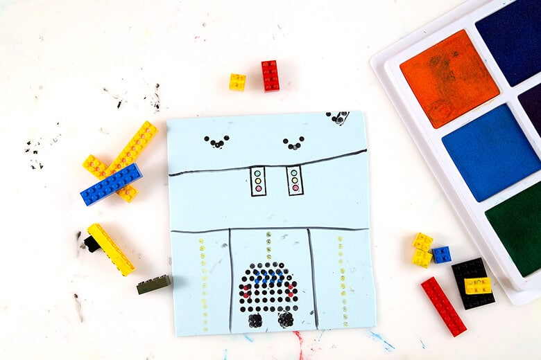 LEGO prints traffic scene created using LEGOs + stamp pads