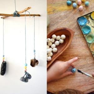 Nature mobile for kids with clay beads