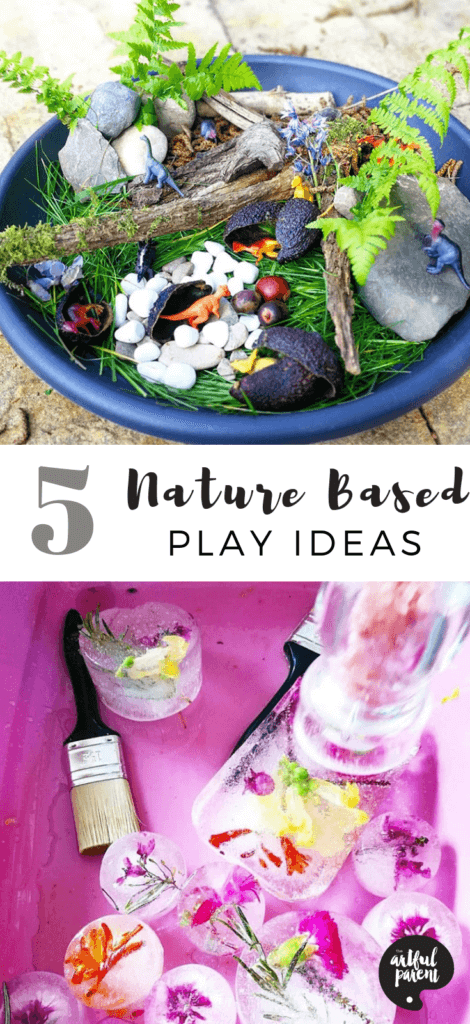 Rachael of Tiddler's Toolbox shares five nature based play ideas for young children. Create small worlds, nature ice blocks, play with mud cupcakes, or use natural materials for sorting, counting and matching activities. #sensory #toddlers #preschoolers #artsandcrafts #kidsart #sensoryplay #sensoryactivities #sensoryactivity #creativehome