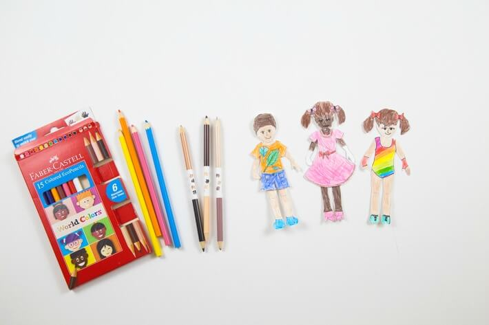 Faber-Castell World Colors Pencils and Colored Paper Dolls