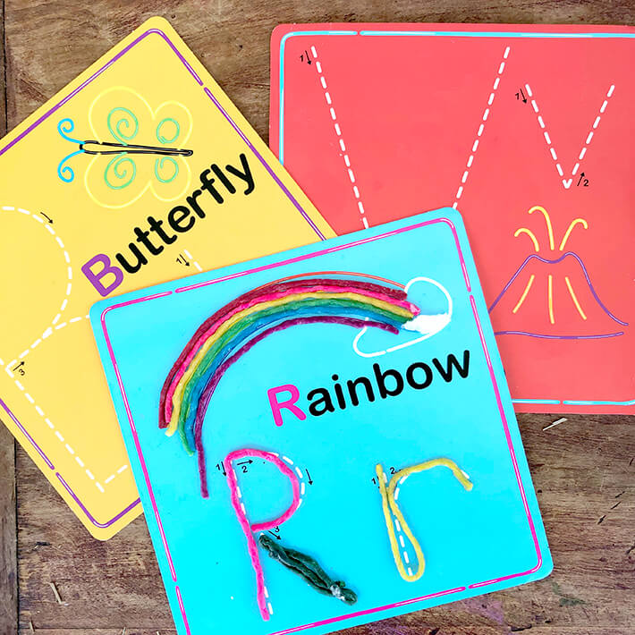 Wikki Stix alphabet cards for traveling with toddlers