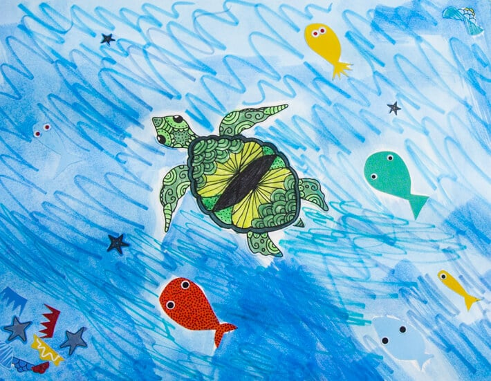 Decorate your own turtle sticker for kids and build-a-fish stickers in use