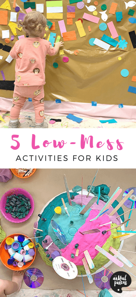 Catalina of Red Violet Studio shares five of her favorite low mess creative activities for kids. Try these ideas for engaging play ideas for young children. #sensory #sensoryactivities #sensoryplay #playdough #toddlers #preschoolers #kidsactivities