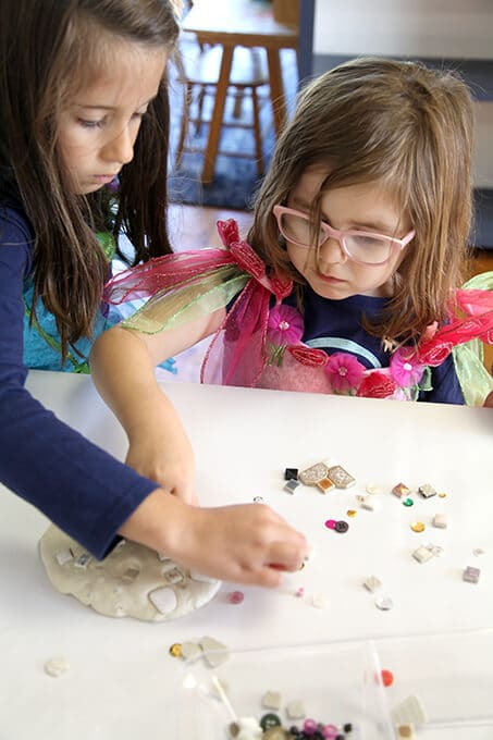Children creating mosaic art for kids with air dry clay