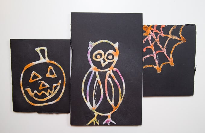 Halloween raised salt paintings– jack-o-lantern pumpkin, owl and spiderweb